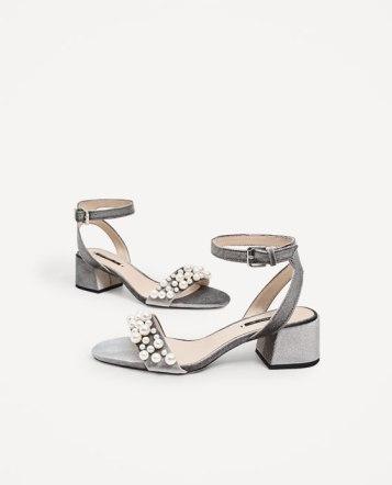Velvet High Heel Sandals w/ Peal Applique