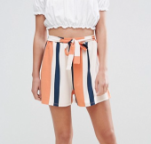 ASOS Tie Waist Shorts w/ Pleats in Stripe